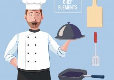 Free vector Happy chef with variety of utensils #14721