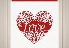 Free vector Heart card with the word love #16971