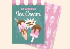 Free vector Ice cream card template in flat design #14961
