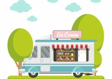Free vector Ice cream truck background in flat design #13411