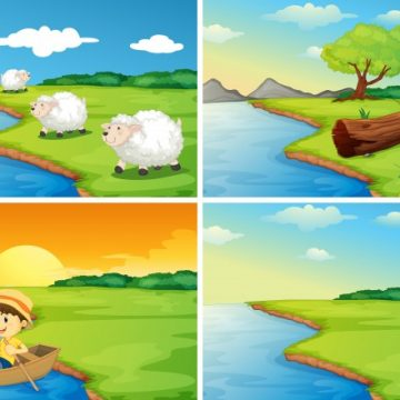 Free vector Illustration of four scenes of the countryside #13736