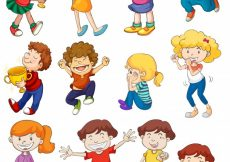 Free vector Illustration of kids in winning and cheering poses #13529