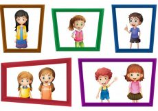 Free vector Illustration of many children in the photo frames #13558
