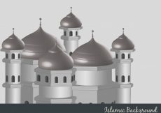 Free vector Islamic background with mosque illustration #18966