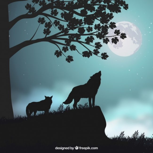 Free vector Landscape background with silhouettes of wolves #17683