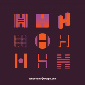 Free vector Logo letter h template collection #17732