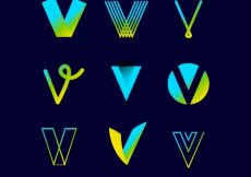 Free vector Logo letter v template collection #17730