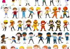 Free vector Many characters with different occupations illustration #13445