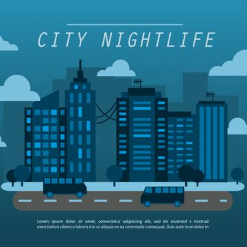 Free vector Midnight Blue Flat Cityscape Vector Background #13072