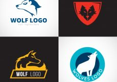Free vector New style wolf logo collection #17438