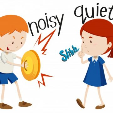 Free vector Opposite adjectives noisy and quiet #18603