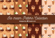 Free vector Pack of chocolate ice cream patterns #17879