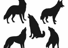 Free vector Pack of five wolf silhouettes #16187