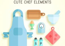 Free vector Pack of flat chef elements #14701