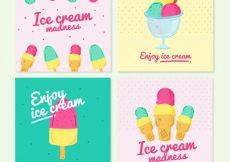 Free vector Pack of four ice cream cards in pastel colors #15437