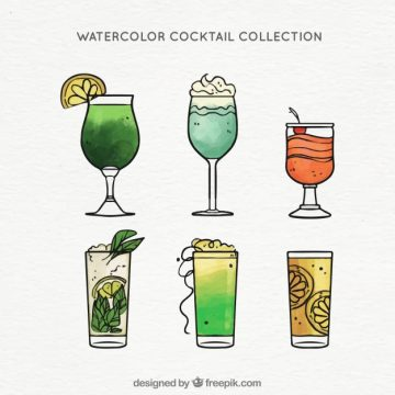 Free vector Pack of hand-drawn watercolor cocktails #18206