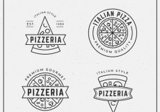 Free vector Pack of logos of pizzas in linear style #18903