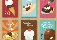 Free vector Pack of six ice cream cards with variety of decorative elements #13417