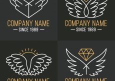 Free vector Pack of wings logos with golden details #13001