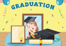 Free vector Party background with graduation items in flat design #15961
