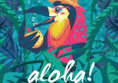 Free vector Pelican cocktail aloha background #17498