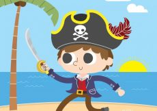 Free vector Pirate boy with sword background #13862