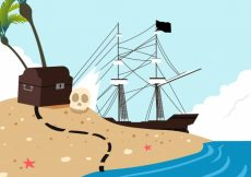 Free vector Pirate island background #17820