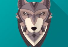 Free vector Polygonal wolf head background #16221
