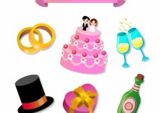 Free vector Pretty collection of wedding items #13119