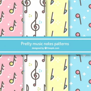 Free vector Pretty music notes pattern #17566