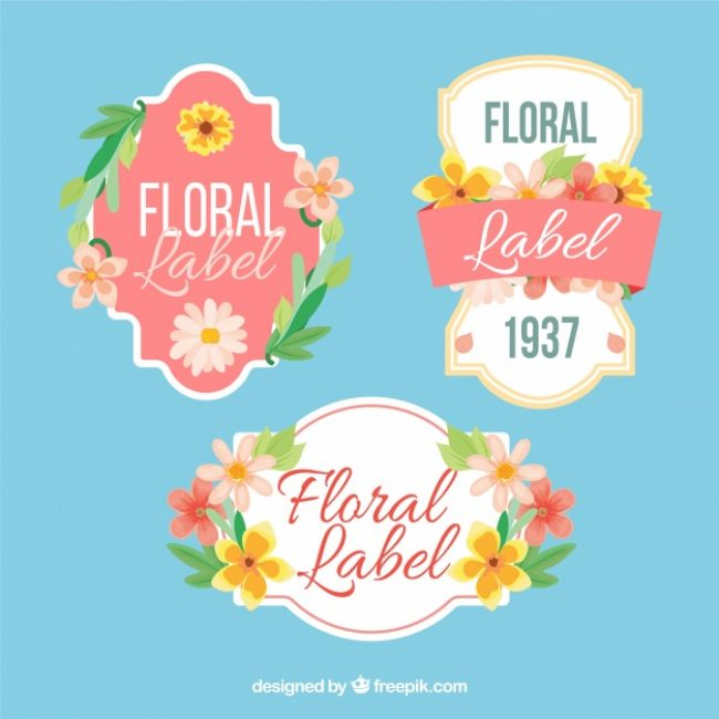 Free vector Pretty stickers with flat flowers #12487