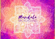 Free vector Pretty watercolor background with hand drawn mandala #13209