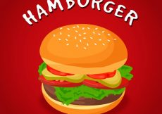 Free vector Red background with appetizing burger #13351