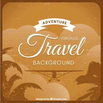 Free vector Retro travel background with light aircraft #18715