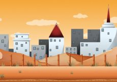 Free vector Seamless background with buildings and desert land illustration #12595