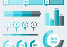 Free vector Selection of fantastic infographic elements in blue tones #13017