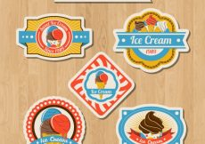 Free vector Selection of five colored labels with flat ice creams #13756