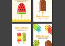 Free vector Selection of flat cards with tasty ice creams #13425