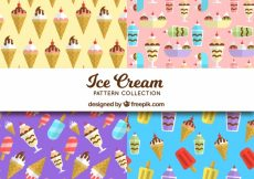 Free vector Selection of four colored patterns with flat ice creams #15497
