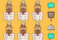 Free vector Set of chef character with facial gestures #15185