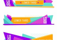 Free vector Set of colorful geometric lower thirds #12747