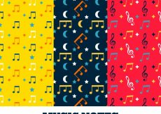Free vector Set of colorful music patterns in flat design #14064