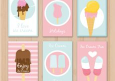 Free vector Set of decorative cards with ice creams in pastel colors #14565