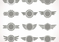 Free vector Set of gray wings insignia #12969