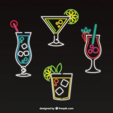 Free vector Set of neon cocktails #18152