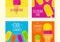 Free vector Several cards with colored ice creams #15435
