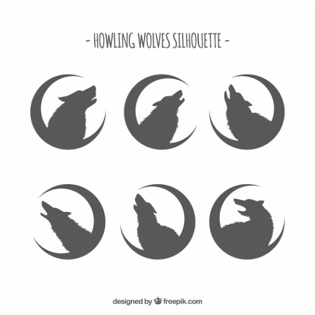 Free vector Silhouettes of wolves with moon collection #16177