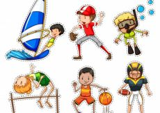 Free vector Sticker set with people doing sports illustration #12545