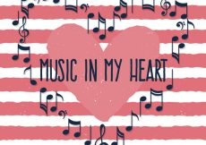 Free vector Striped background with musical notes heart #15063