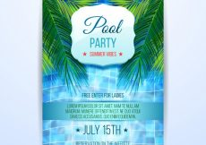Free vector Summer party brochure with pool #15777